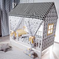 Комплект  текстиля «Шатер МАМА» для кровати Лунд (крыша, 2 торца с окошками, 4 шторы)