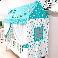 Комплект текстиля «Шатер МАМА Лунд» (крыша, 2 торца с окошками, 2 занавески)