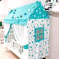 Комплект  текстиля «Шатер МАМА» для кровати Лунд (крыша, 2 торца с окошками, 2 шторы)
