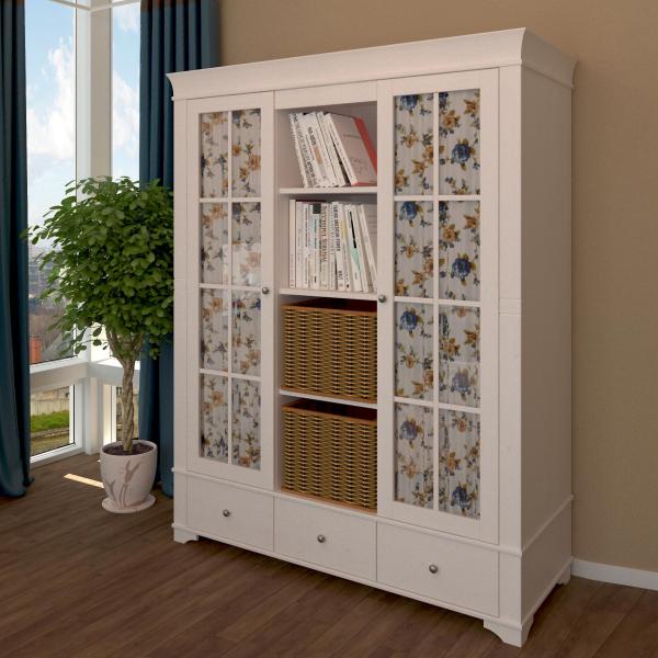 Шкаф из коллекции «Бейли» (2 стеклянных двери с нишей по середине)