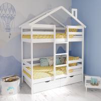 Детская двухъярусная кровать-домик ЭКО 2 (Белый, СПб)
