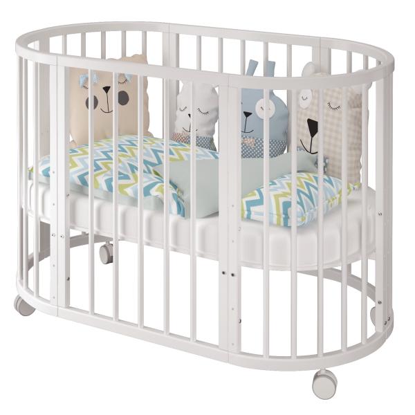 Детская овальная кроватка «Estel» (Эстель, трансформер 6 в 1 без маятника)