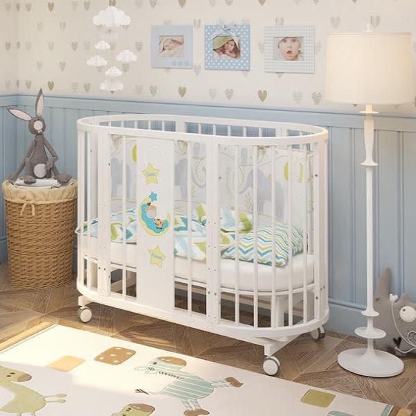 Круглая (овальная) детская кроватка-трансформер c маятником «Estel» (Эстель)