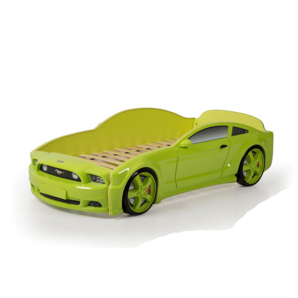Кровать-машина Мустанг зеленая (3d пластик)