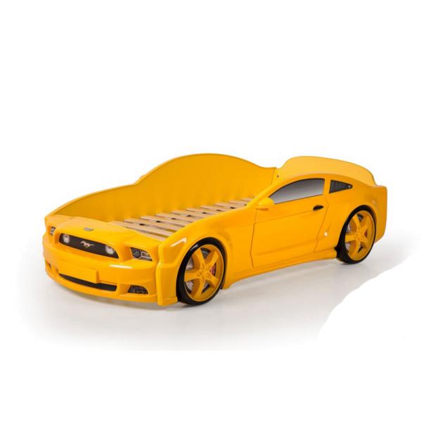 Кровать-машина Мустанг желтая (3d пластик)