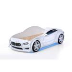 Кровать машина марки «БМВ» белая (EVO 3d)