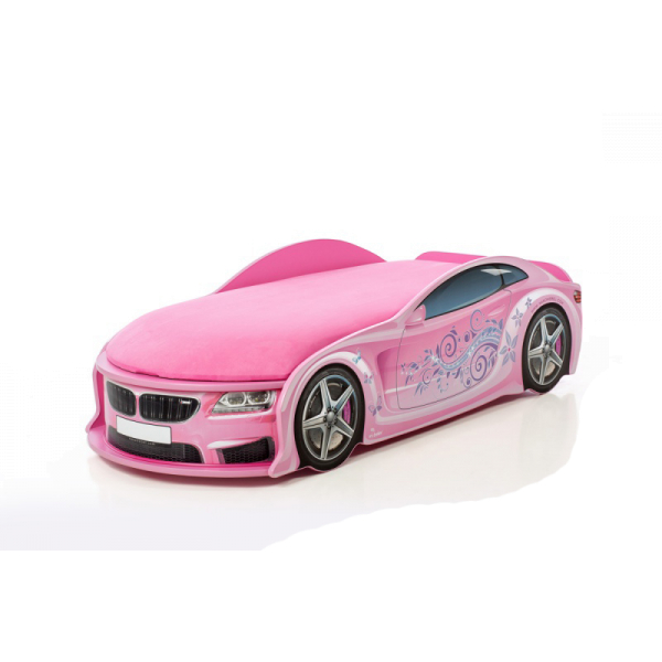 Кровать-машина БМВ-М розовая (серия UNO)