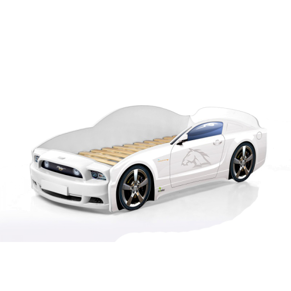 Кровать-машина Мустанг белая (PLUS)