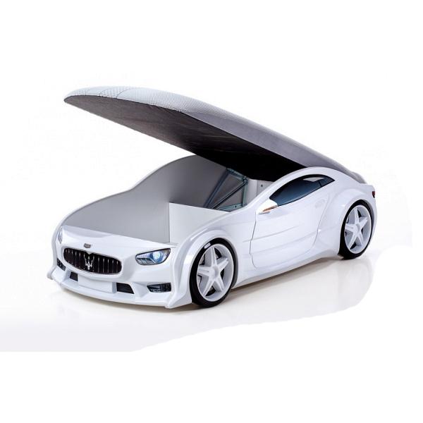 Кровать-машина «Мазерати» белая (серия NEO 3d объемная)