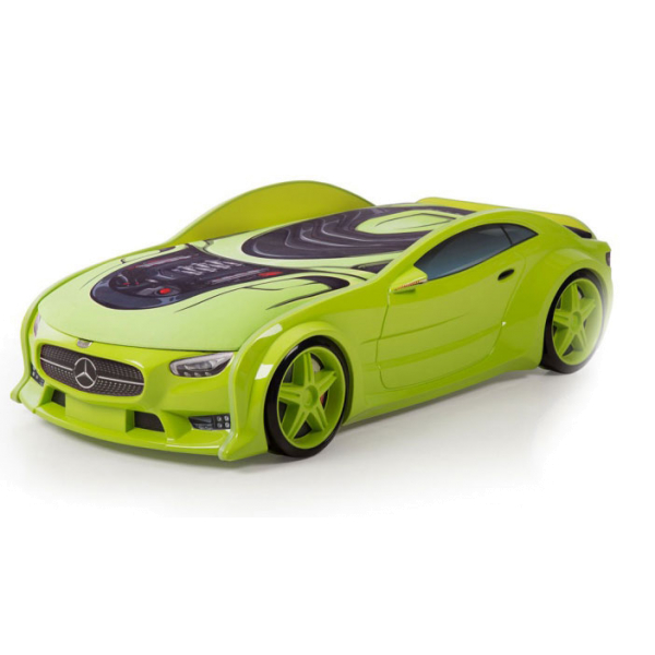 Кровать машина зеленая марки Мерседес (NEO 3d)