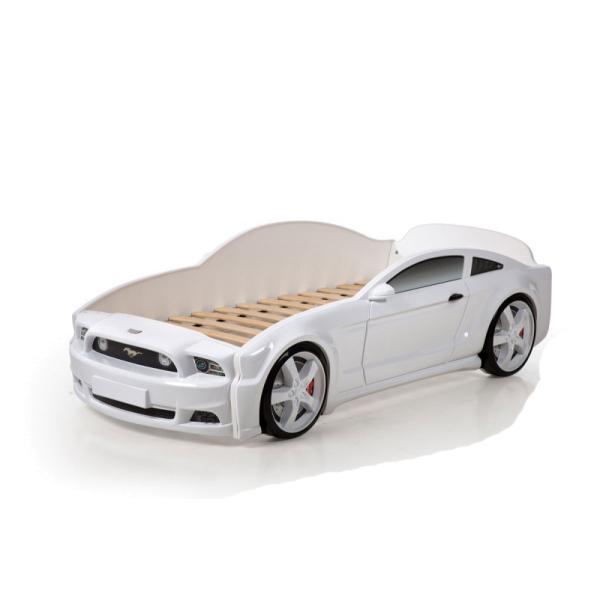 Кровать-машина Мустанг белая (3d пластик)