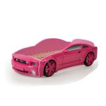 Кровать-машина Мустанг розовая (3d пластик)