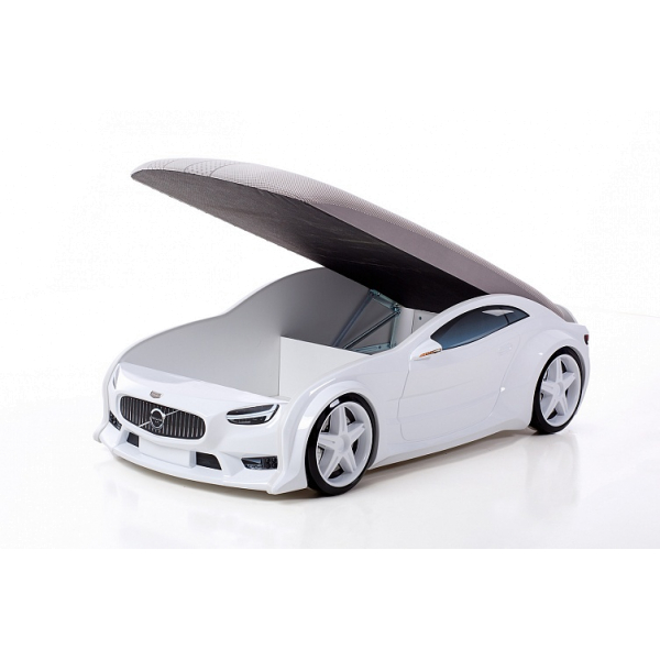 Кровать-машина Вольво белая (серия NEO 3d объемная)