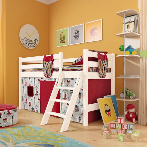 """Низкая кровать чердак """"Соня""""- Вариант 12 ( с наклонной лестницей )"""