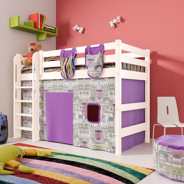 """Полувысокая кровать """"Соня""""- Вариант 5 ( с прямой лестницей )"""