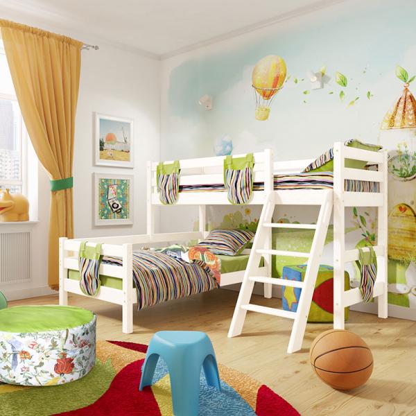 """Угловая кровать """"Соня""""- Вариант 8 ( с наклонной лестницей )"""