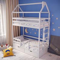 Детская 2-ярусная кровать-домик Мадрид-2