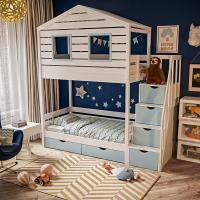 Детская двухъярусная кровать-домик Бревик