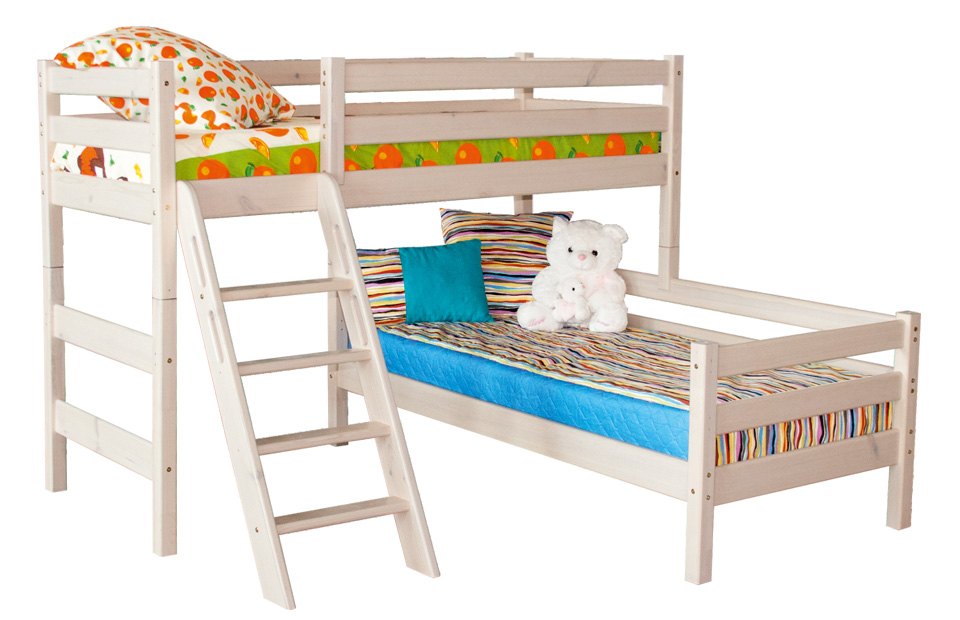 кровать соня из двух ярусов с перпендикулярным расположением спальных мест