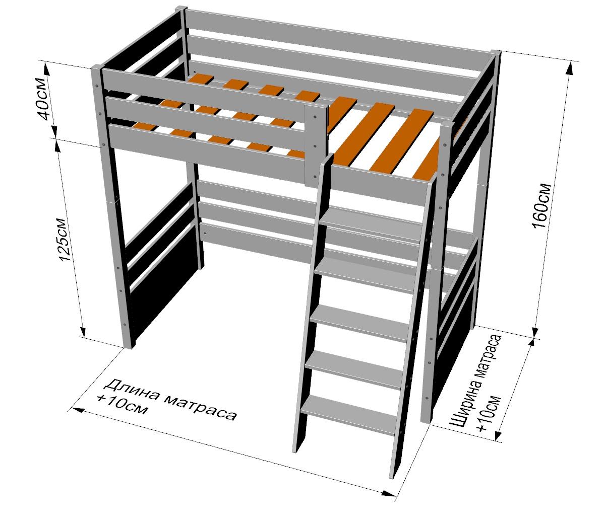 кровать чердак размеры фото зависимости индивидуальных особенностей
